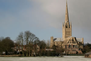 Norwich Cathredral from sports field in winter
